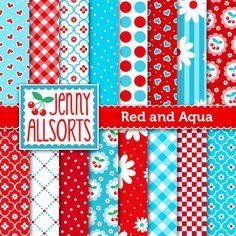 Red and Aqua Digital Scrapbook Paper  16 by JennyAllsortsDesign, $3.00