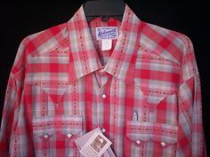 Brand New Men's Size Large Red Tan Plaid Rockmount Shirt #ROCKMOUNT #Western
