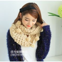 Dreamy Beige Handmade Pom Pom Trimmed Open-Knit infinity Scarf Free Shipping