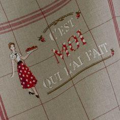 """Torchon """"C`est moi qui l`ai fait""""   Les Brodeuses Parisiennes   Atelier Laura"""