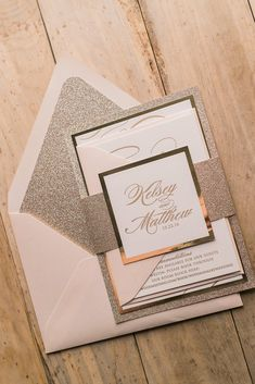 THERESA Suite Fancy Glitter Package, blush and gold, glitter, letterpress wedding invitations