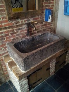 stone # washbasin Natural stone washbasin stone # sink Natural stone sink Always aspired to learn to knit, however undecided where to start? Rustic Bathroom Designs, Rustic Bathrooms, Curb Appeal Porch, Bungalow Porch, Mobile Home Porch, Small Porches, Stone Sink, Diy Porch, Deck Decorating