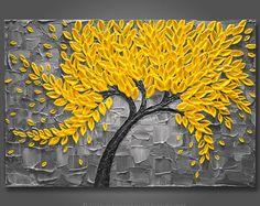 """Grandes 24 """"x 36""""x1.5""""pintura Original de árbol de flor - amarillo y gris - espátula empaste textura - Galería estirada lienzo envío gratis!"""