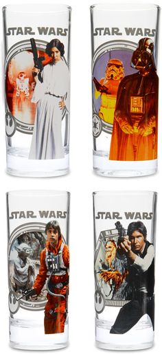 nick and amber  glasses for the Han Solo and R2D2 ice cubes  ThinkGeek :: Star Wars 10 oz. Glass Set