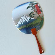 Uchiwa-fan Greeting Card - Mount Fuji Pine Hand Held Fan, Hand Fan, Mount Fuji, Pine, Greeting Cards, Japanese, Metal, Holiday, Gifts