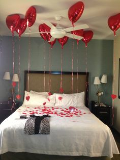 Valentines surprise hotel room for boyfriend or hubby. He absolutely LOVED it.