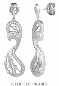 Sterling Silver Pave Abstract CZ Dangle #Earrings * $16.43