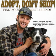 Josh Wolf did a PSA for us for the Adopt, Don't Shop campaign.  #awesome #joshwolf #animals #adoptdontshop #nonprofit #animallover