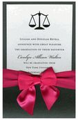 Scales of Justice Ebony Pocket with Crystal Card and Shocking Pink Bow Graduation Invitations