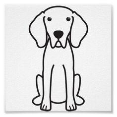 Weimaraner Dog Cartoon Print