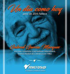 #UnDíaComoHoy 17 de abril pero de 2014 fallece Gabriel García Márquez, escritor, novelista y periodista colombiano, Premio Nobel de Literatura en 1982.