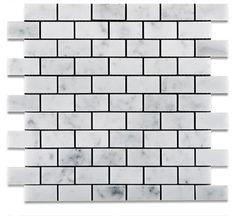 1 X 2 Carrara White Marble Polished Brick Mosaic Tile - American Tile Depot - Shower, Backsplash, Bathroom, Kitchen, Deck & Patio, Decorative, Floor, Wall, Ceiling, Powder Room, Indoor, Outdoor, Commercial, Residential, Interior, Exterior