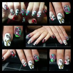 Alice in Wonderland nails by Cherish Nuckols of Clay Roots Beauty!