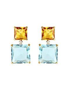 Kiki McDonough Topaz, citrine and diamond earrings