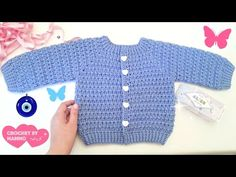 How To Crochet The Three Way Baby Sweater Tutorial Crochet Baby Sweaters, Crochet Baby Cardigan, Knit Cardigan Pattern, Crochet Baby Clothes, Newborn Crochet, Baby Knitting, Gilet Crochet, Crochet Jacket, Baby Sweater Patterns