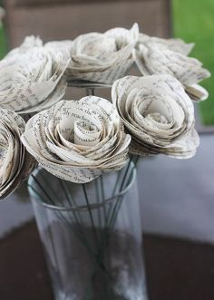 12 Rustic Book Page Paper Flowers - Wedding Decor - Vintage - Bridal Shower…
