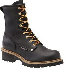 """Carolina Men's 8"""" Black Steel Toe Waterproof Logger Work Boots - HeadWest Outfitters"""