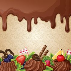 Buy Chocolate Sweets Background by macrovector on GraphicRiver. Sweets dessert background with milk chocolate syrup cream and ornament vector illustration. Editable EPS and Render i. Chocolate Bonbon, Chocolate Sweets, Chocolate Syrup, Logo Dulce, Cake Logo Design, Fruit Cartoon, Cream Candy, Bakery Logo, Food Backgrounds