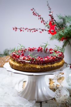 Marzipan and Gingerbread Cheesecake with Mulled Wine Jelly and Pomegranate