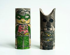 who knew Batman could look so cool even from a toilet roll! DIY Recycled Batman + Robin Paper Roll Puppets