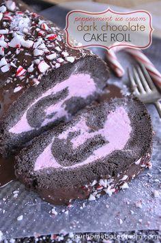 Peppermint Ice Cream Dark Chocolate Cake Roll - the perfect Holiday dessert!