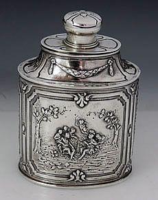 German silver antique tea caddy