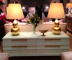 """Pair of gold lamps - apparently """"trend spotted"""" at High Point, North Carolina. Do you think gold is coming back? [via Linda Holt Interiors] North Carolina Furniture, Zen Design, Hickory Chair, Interior Design Inspiration, Interior Ideas, Furniture Market, Home Office Decor, Home Decor, Colorful Furniture"""
