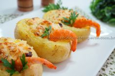 Receita de Batata recheada com camarão passo-a-passo. Acesse e confira todos os ingredientes e como preparar essa deliciosa receita!
