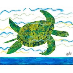 Oopsy Daisy's Eric Carle's Sea Turtle Canvas Wall Art, Size 18x14, White
