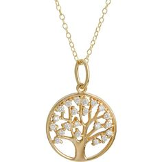 Fremada Gold Over Sterling Silver Cubic Zirconia Tree of Life Necklace ($21) ❤ liked on Polyvore featuring jewelry, necklaces, yellow, long chain necklace, chain necklaces, round pendant necklace, cubic zirconia necklaces and long necklaces