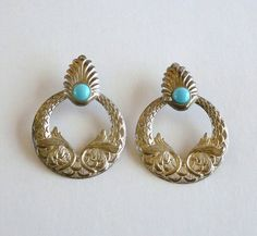 Silver Tone and Faux Turquoise Earrings