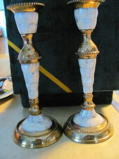 VINTAGE MOTHER OF PEARL CANDLESTICKS  BEAUITFUL  VERY OLD  COMES IN GREEN VELVET BOX  MOTHER OF PEARL AND BRASS