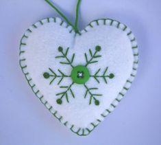 Felt Christmas Ornament, Scandinavian Heart, Embroidered Snowflake.. $ 8.00, via Etsy.
