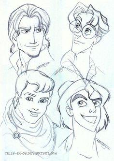 Disney prince sketches:)