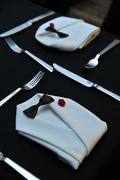 LOVE this tuxedo napkin fold idea!