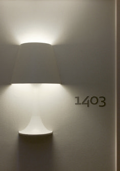 Brilliant lamp in wall at hotel Scandic Victoria Tower in Stockholm, Sweden. Design by Philippe Starck. Product Design /A\ Deco Luminaire, Luminaire Design, Design Hotel, Interior Lighting, Lighting Design, Lighting Ideas, Blitz Design, Interior Architecture, Interior Design