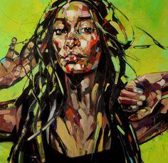 """Anna Bocek  """"CANARIAN SERIES"""" 100x100cm oil on canvas"""