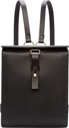 Fleet Ilya Black Leather Medium Harness Backpack Front View