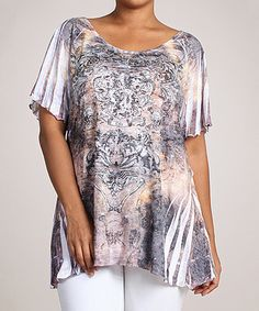 Look what I found on #zulily! White & Gray Abstract Angel-Sleeve Top - Plus #zulilyfinds