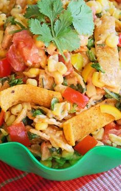 Fritos Chili Cheese and Corn Salad ~ loaded with southwestern flavor. Add grilled chicken and black beans to make it a main course. #maincourse #recipe #dinner #lunch #recipes