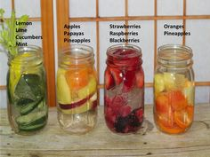 Different ideas on fruit infused water