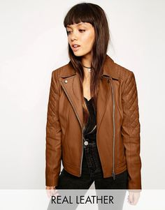 Image 1 of ASOS Leather Biker Jacket With Multi Quilt Detail