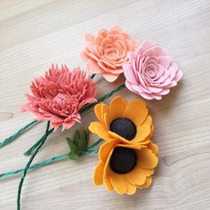 """""""Four felt wildflowers. Made from vibrant shades of 100% wool felt. Carrot, French peach, papaya and guava.  Flowers cut freehand. Anemone, peony and…"""""""