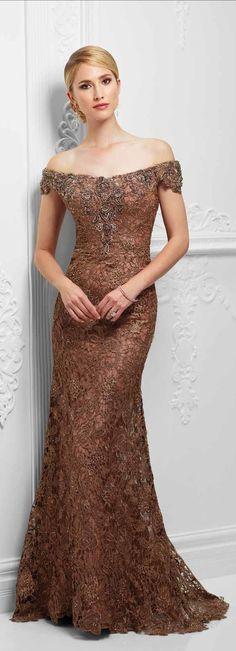 IVONNE D DRESS ¤ Women's Bronze Off-Shoulder Paisley Embroidered Elegant Evening Gown ¤ #117D71.