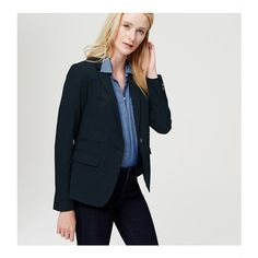 LOFT has feminine women's outerwear, including jackets, coats, blazers & more. Shop with us to find the perfect outerwear for every season & occasion! Dark Blue Denim Jacket, Gray Jacket, Blazer Jacket, Dark Denim, Cute Jackets, Long Jackets, Jackets For Women, Long Blazer, Gray Blazer