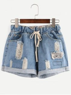 SHARE & Get it FREE | Pockets Ribbed Distressed Spliced Denim ShortsFor…