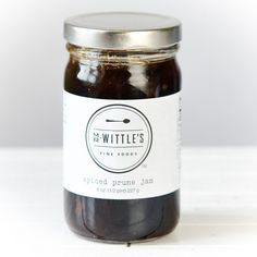 Spiced Prune Jam   $10. Sweet, sticky prunes are blended with tart, freshly squeezed lemon juice, pure cane sugar, Saigon cinnamon, and aromatic allspice to create this luscious and hearty jam. Available on: manykitchens.com.