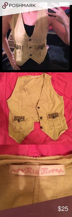 Miss Me Vest Embellished pockets and back. Beige/tan color. Miss Me Jackets & Coats Vests