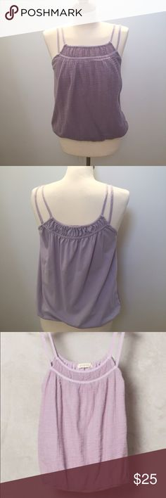 Anthropologie, Stark gauze tank, lilac, S A lovely tank! Front is gauze and back is very soft tee shirt knit material. Gathered elastic waist and double straps. Very comfy and pretty! Size small. Like new, excellent condition! Most accurate color is in pic one. Anthropologie Tops Tank Tops