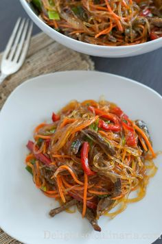 """""""Funchoza"""" glass noodle salad with meat #funchoza #glassnoodles #koreansalad"""